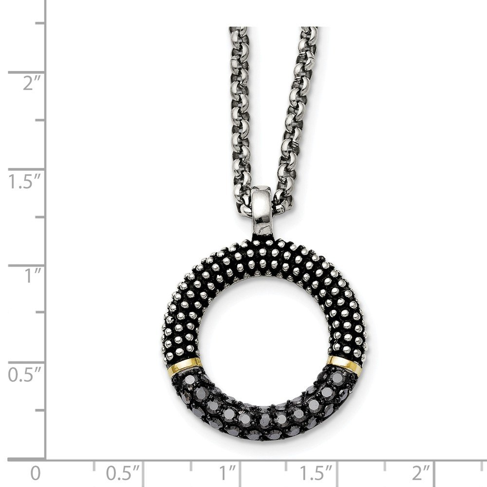 Stainless Steel Black CZ Yellow IP Plated Antiqued Circle Necklace 27x27mm 18 Inches