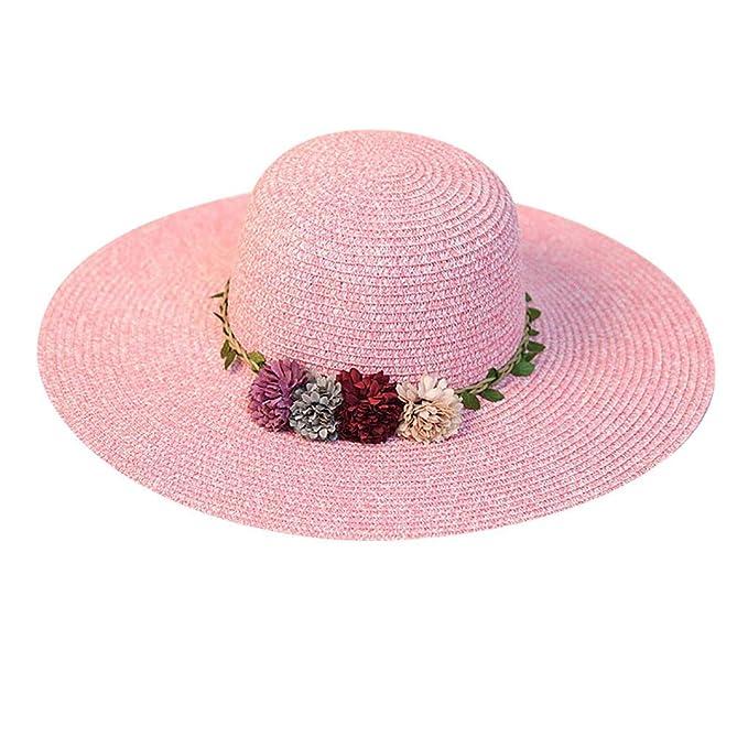 Rcool Gorras de béisbol Viseras Gorro de pescador Pamelas Sombreros Panamá, Gorro de playa de flores coloridas de paja de ala ancha grande para mujer: ...