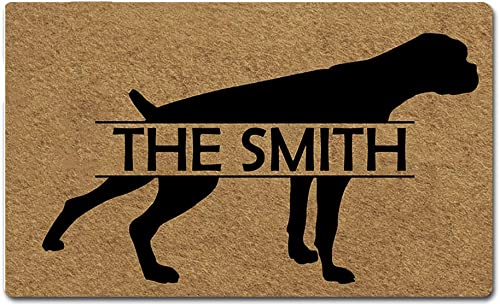 Artsbaba Custom Personalized Dog Door Mat Welcome Pet Mat Rubber Non-Slip Entrance Rug Floor Mat Home Decor Indoor Doormat 30 x 18 Inches, 3 16 Thickness – Boxer