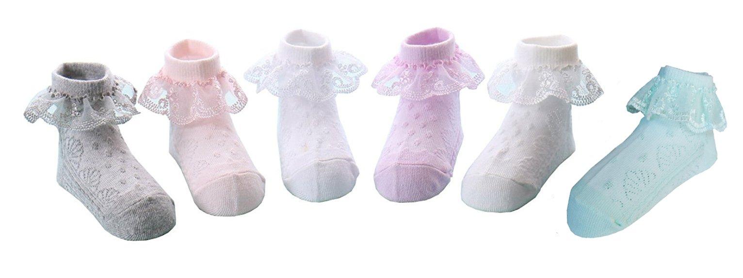 CHUNG Toddler Baby Girls Princess Lace Dress Socks Pack of 5/6 Satin Ruffles, 6pk, 5-7Y