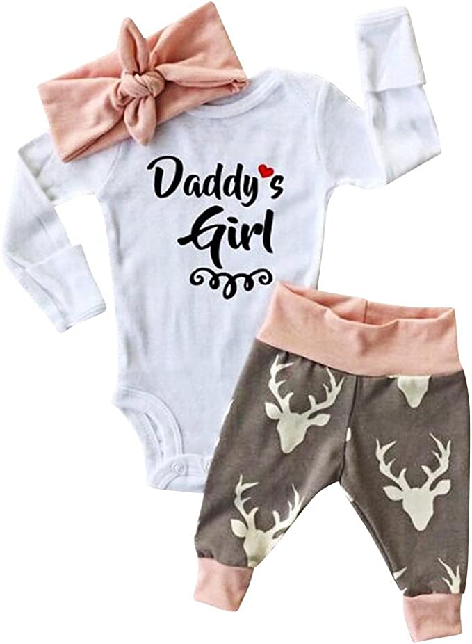 SRYSHKR Kid Xmas Newborn Baby Girl Romper Bodysuit+Pants Hairband Clothes Outfits Set
