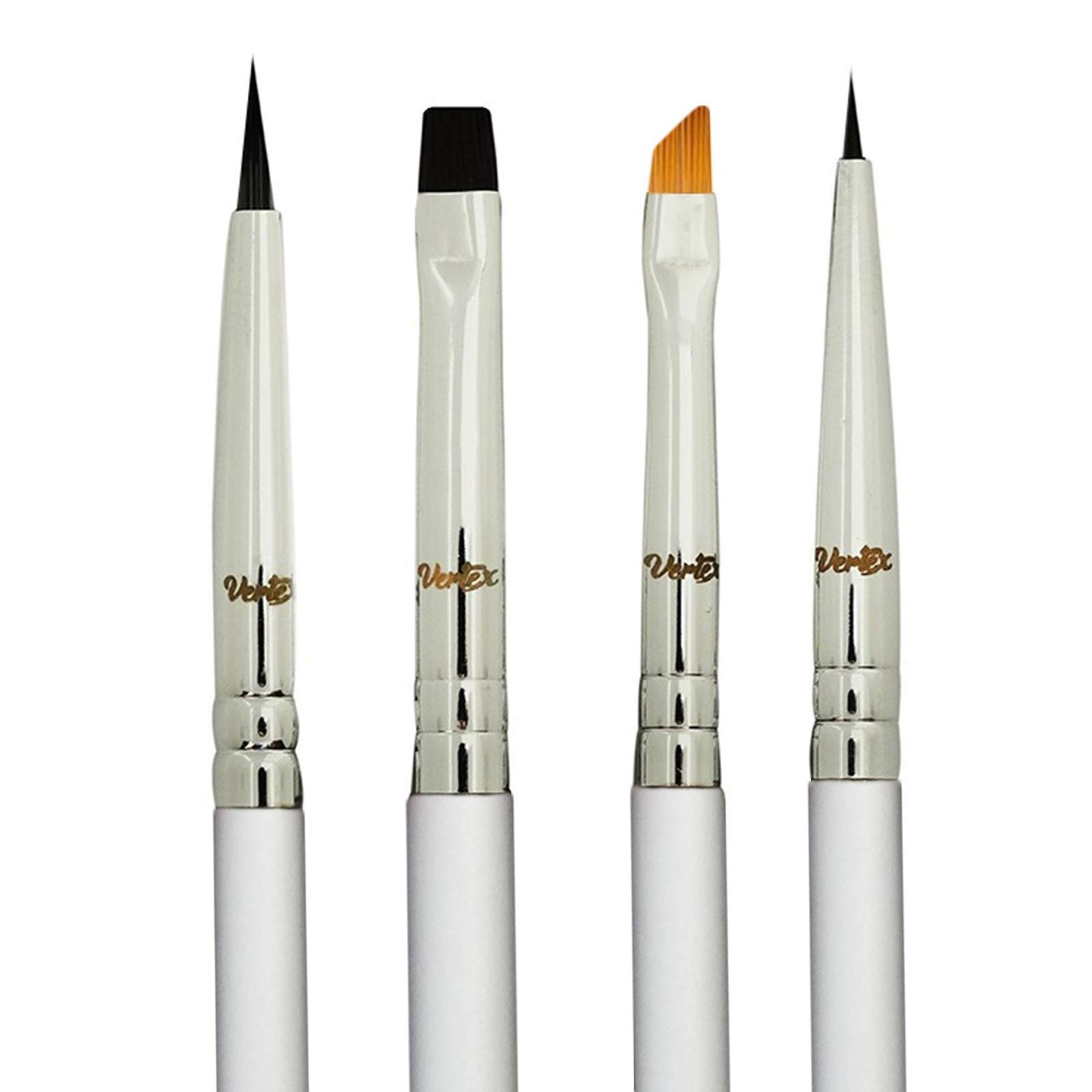 Vertex Beauty Eyeliner Makeup Brush Set - Fine, Angled, Winged, Firm, and Flat Brushes - Liquid or Gel Applicator Pencil-Point Thin Bristles for Detailed Precision Eye Liner - Create Flawless, Innovated, and Detailed Designs that Glide Perfectly Over Eye Corners (4 Set)