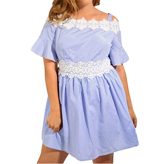 f6f3cac88e8 Sttech1-women clothes Women s Plus Size Lace Panel Off Shoulder Stripe  Pinstriped Mini Skater Dress  Amazon.in  Clothing   Accessories