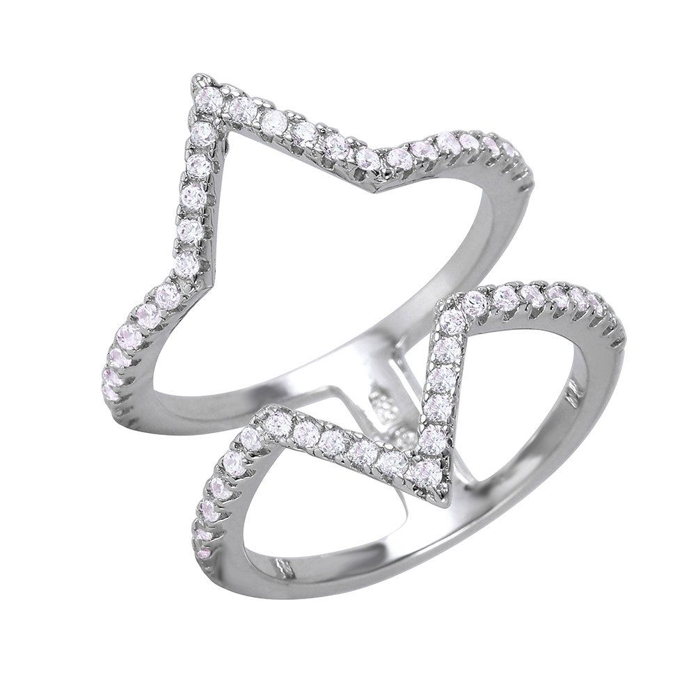 Princess Kylie Clear Cubic Zirconia Half Triangle Shaped Ring Rhodium Plated Sterling Silver