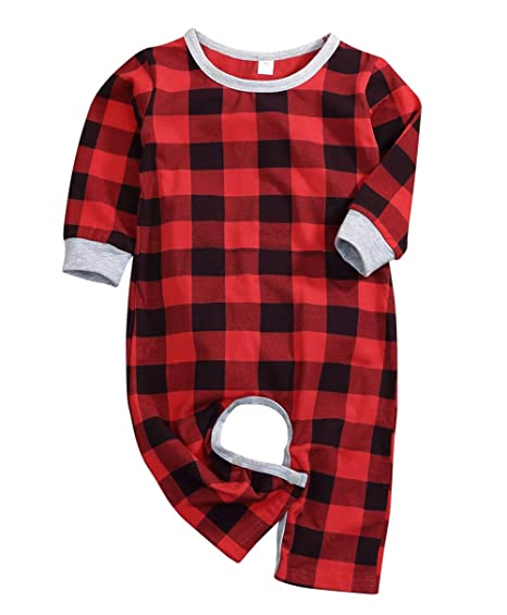2f49daf398 Baby Boys Girls Christmas Outfits Santa Romper Xmas Plaid Letter Print  Jumpsuit Bodysuit Clothes Set Winter