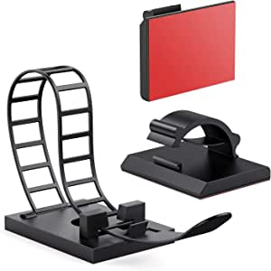 AGPTEK Cable Clips,50 Pieces Adhesive Cord Organizers, 25PCS Adjustable Multipurpose Cable Ties and 25PCS Cable Clips for Cable Management, Black