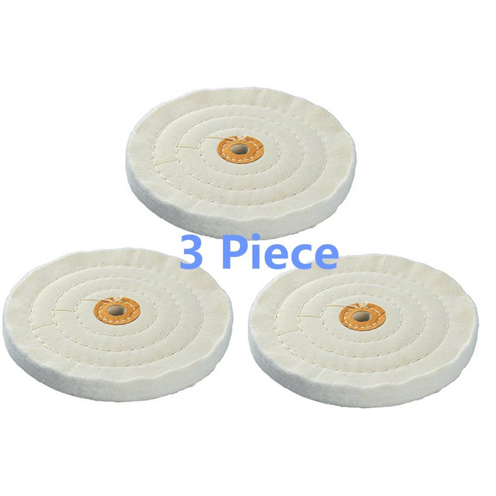 BaiJia Spiral Stitched Buffing Wheel, 6-Inch Cotton Muslin Buffing Wheel (3 Piece)