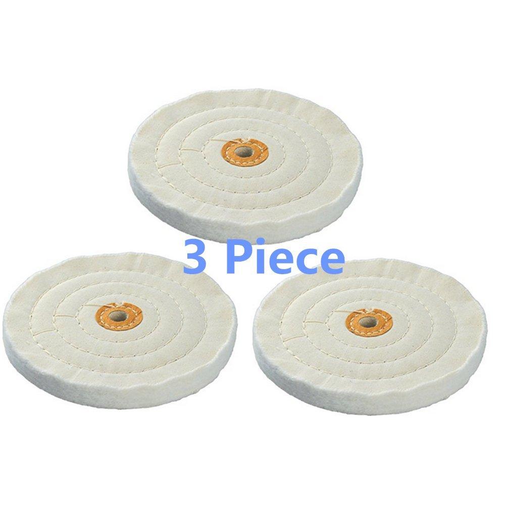 BaiJia Spiral Stitched Buffing Wheel,6-Inch Cotton Muslin Buffing Wheel (3 Piece)