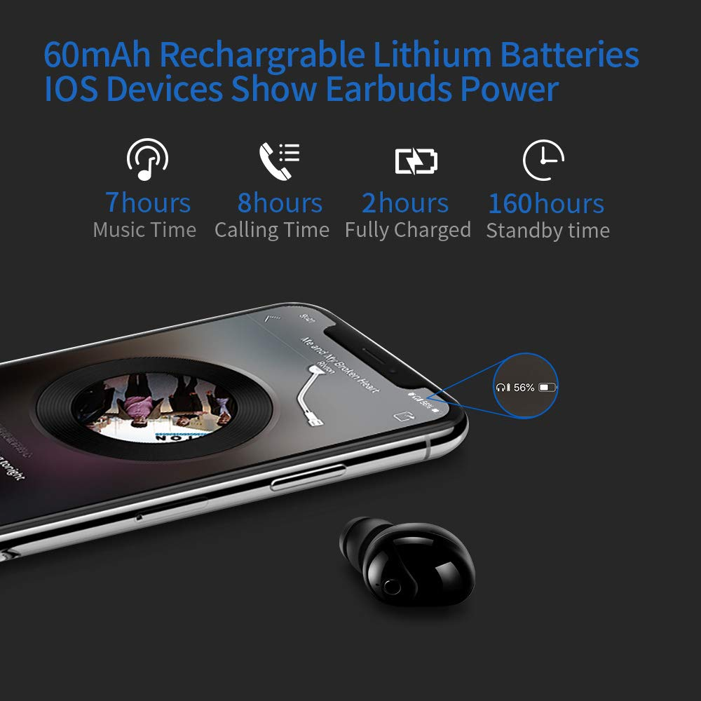 GUOER Wireless Mini Invisible Smallest Bluetooth 4.1 Headset Headphones Earphone Earpiece With Mic, Noise Cancellation for iPhone Samsung HTC LG and most Smartphones, and Other Bluetooth-enabled Devices(Black)