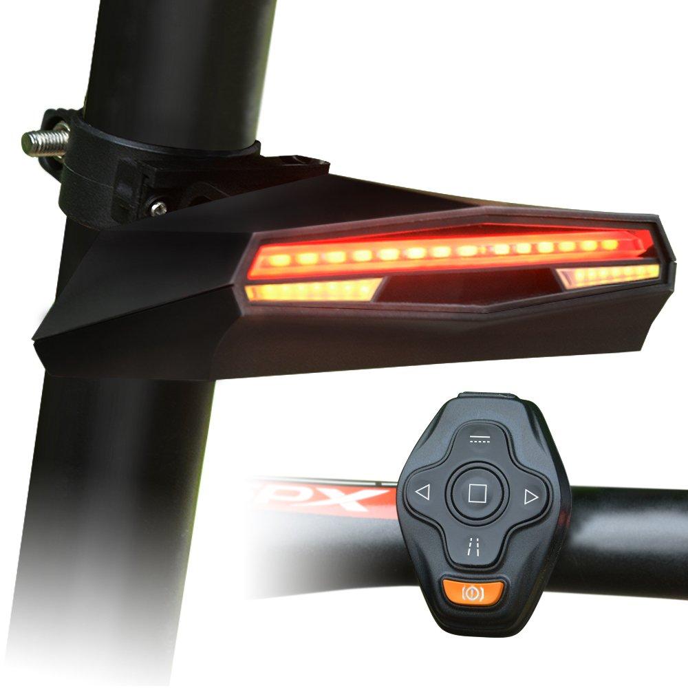 Omnicare Bike Light, USB Rechargeable LED Bicycle Taillights Set, Remote Control Turn Light, Laser light, Brake Light Bike Safety Rear Light
