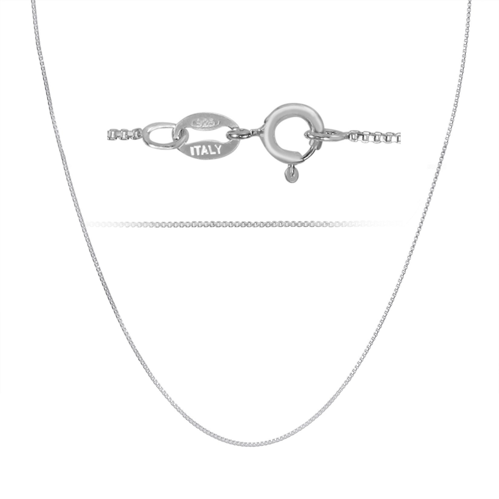 Kezef 925 Sterling Silver Box Chain Necklace .7mm Sturdy Thin Nickel Free Made in Italy 28'' inch