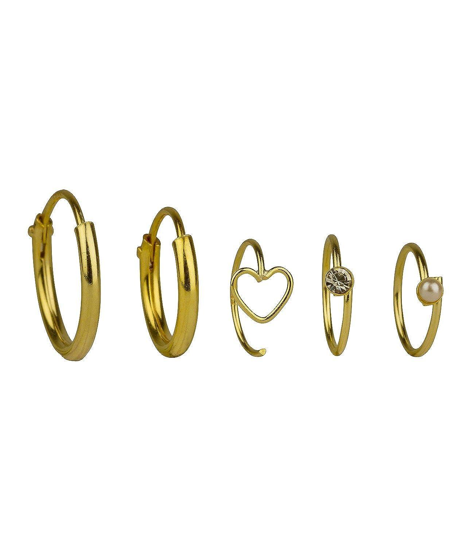 Six schmuck piercing  SIX 5er Set vergoldete Nasen Ringe, Piercing aus 925er Silber ...