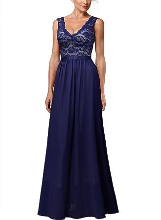 226003f3b081 Miusol Women's Retro Deep-V Neck Halter Style Wedding Bridesmaid Maxi Dress ,Blue,