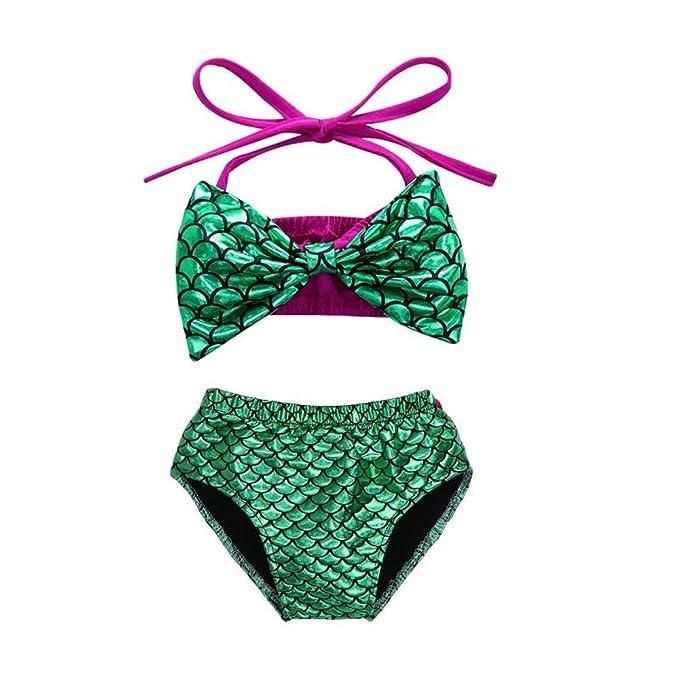 2376e64a46 Infant Baby Girls Halter Bowknot Mermaid Bikini Set Swimwear Swimsuit  Bathing Suit (70(0