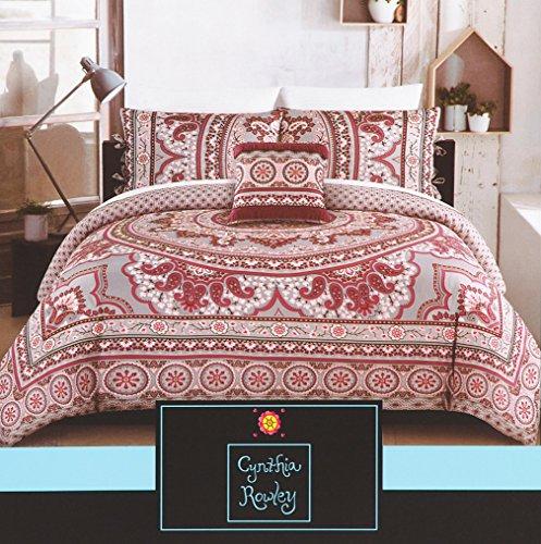 Hippie Bedding Duvet Quilt Cover Set Vibrant Bohemian Geometric Medallion Berry Fuchsia Grey Mandala Tapestry Print (Queen) (Berry Tapestry)
