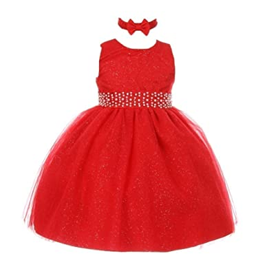 06678820693dd RainKids Baby Girls Red Sparkly Pearl Diamond Tulle Occasion Dress 24M:  Amazon.co.uk: Clothing