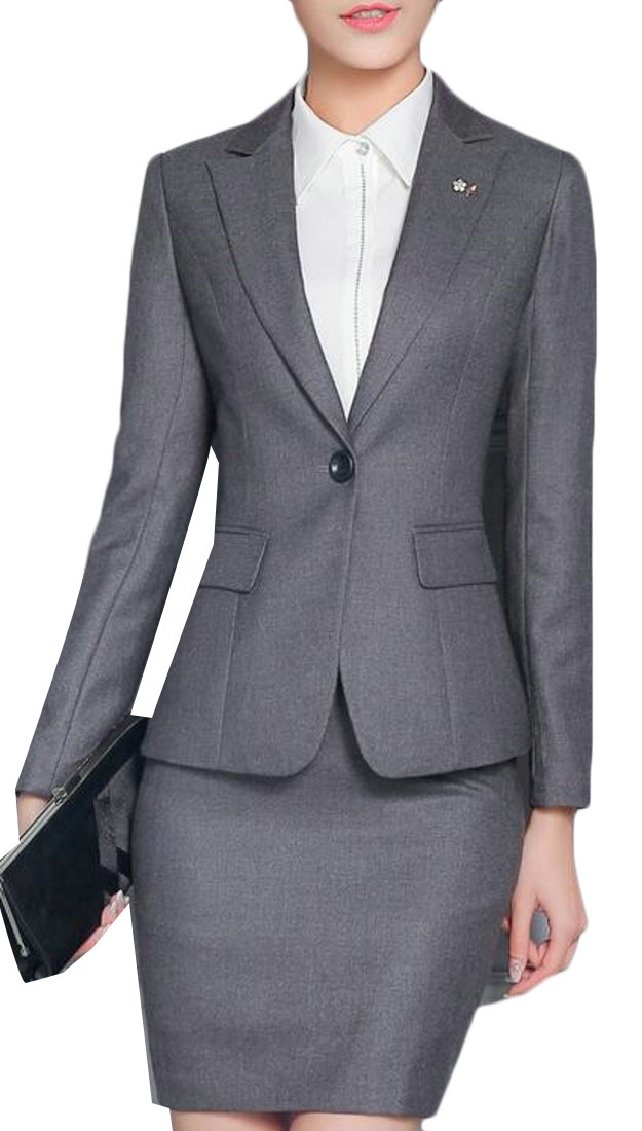 Gocgt Women's 2 Piece Business Skirt Suit Set Office Lady Slim Fit Blazer and Skirt