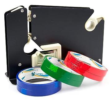 Sellador de cuello con dispensador de cinta cortadora de plástico de metal, incluye 6 rollos, color negro: Amazon.es: Oficina y papelería