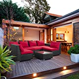 Outdoor Patio Furniture Sets PE Rattan Wicker Sofa Sectional With Rust Red  Cushions
