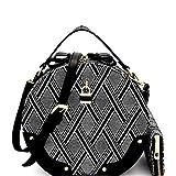 Le Miel Padlock Accent, 2-Compartment Patterned Round Satchel w/Strap + Wallet(Black)
