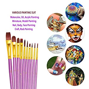 Purple Paint Brushes, heartybay Paint Brush Set Round Pointed Tip Nylon Hair Artist Acrylic Brush Watercolor Oil Painting (10pcs)
