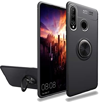 Newseego Compatible with Huawei P30 Lite Case,360 Degree Adjustable Ring Stand,Frosting Thin Soft Protective and Finger Ring Holder Kickstand Fit Magnetic Car Mount for Huawei P30 Lite-Black+Silver: MP3 Players & Accessories