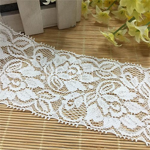 (5 Meters Stretch Lace Edging Trim Ribbon 6.5cm Width Vintage White Elastic Edge Trimmings Fabric Embroidered Applique DIY Sewing Craft Wedding Bridal Dress Flower Party Decor Clothes Embroidery Floral)