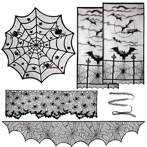 Diy Gothic Halloween Decorations (Aritiflr 5 Pack Halloween Decorations, Black Lace Party Decor, Bat Window Curtains, Spider Web Fireplace Mantel Scarf Cover, Spider Web Table Topper Tablecloth, Halloween Lamp)
