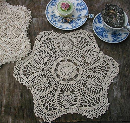 Round Set Hutch (14 inch Handmade Crochet Doilies set Placemats Natural 100% Cotton (2))