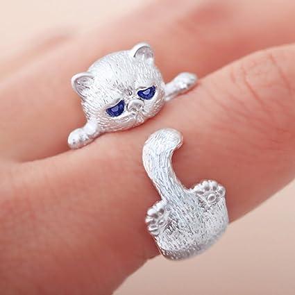 Yesiidor Anillo para Gato con Forma de Animal, Anillo de Apertura para Mujer, Accesorios