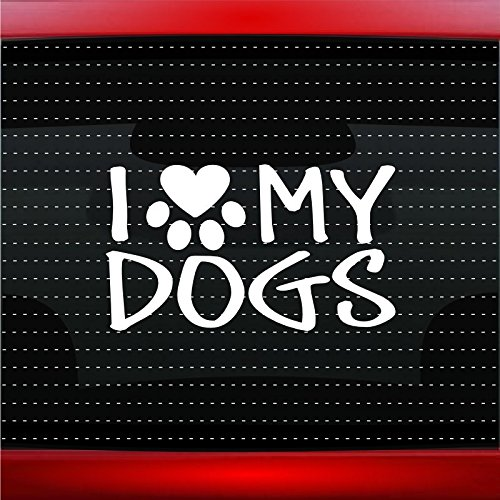- I Love My Dogs - Dog Paw Heart Pet Family Car Sticker Truck Window Vinyl Decal COLOR: LIGHT GRAY