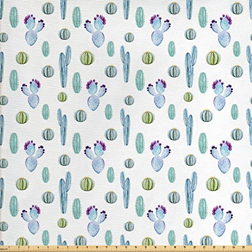 Cactus Costume Pattern (Cactus Decor Fabric by the Yard by Ambesonne, Blue Botanic Desert Flowers with Spikes Pattern Types of Desert Cactus Art Decor, Decorative Fabric for Upholstery and Home Accents, Blue)