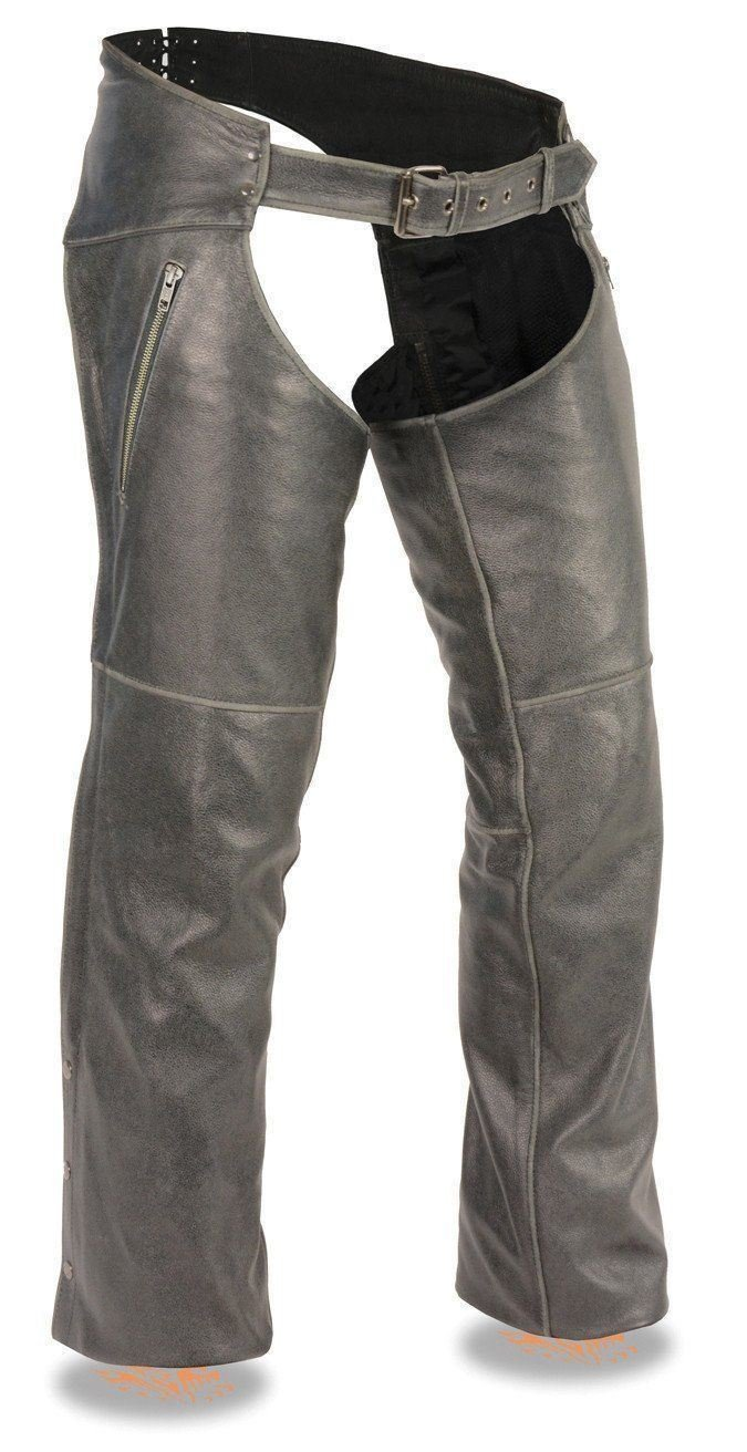 Milwaukee Leather Men S Vintage Distressed Grey Slate CHAP W DEEP Thigh  Zippered Pockets 05d190613