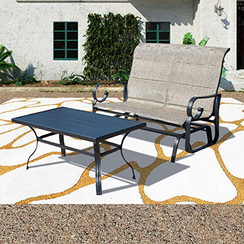 Patio Festival ® Outdoor Glider Seat,Patio Bistro Furniture Sets with Garden Rocking Seating for 2 Person,Loveseat and Sofa Table for Outdoor Backyard,Beside Pool, Lawn (2PC, Gery)