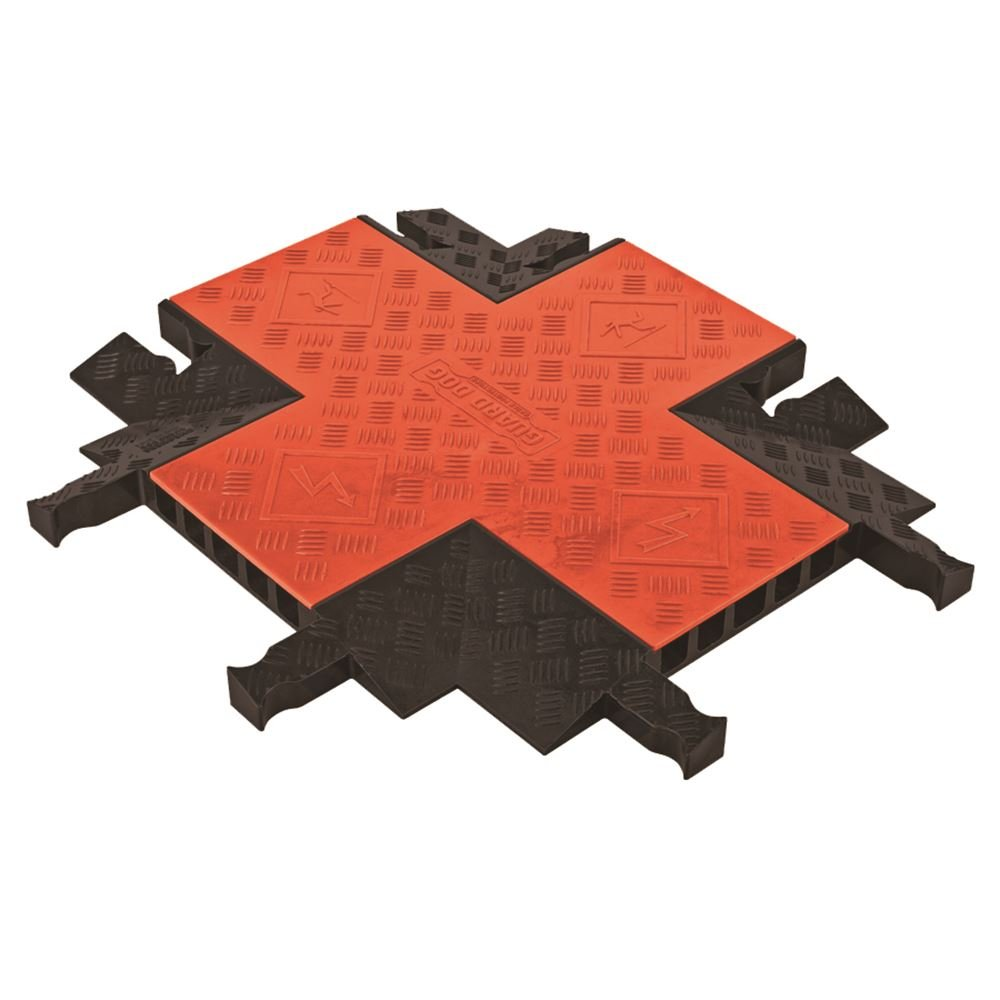 Guard Dog GDCR5X125-O/B Polyurethane Heavy Duty 5 Channel 4 Way Cross Cable Protector with Dog-Bone Connector, Orange Lid with Black Ramp, 28.5'' x 24.5'' Length, 19.75'' Width, 1.87'' Height