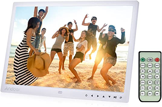 Digital Photo Picture Frame Andoer 15 inch Digital Picture Frame 1280x800 HD Resolution 16:9 Wide Picture Screen Offers a Clear and Distinct Display White