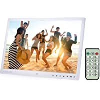 Andoer 15 inch Digital Photo Frame TFT LED 7 Touch Key 1080P 1280x800 HD MP4 Video MP3 Audio TXT eBook Clock Calendar with Infrared Remote Control White