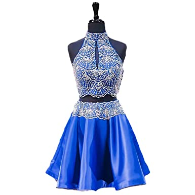 Graceprom Womens Royal Blue Two Pieces Homecoming Dress Beaded Crystal Short Prom Dress 2