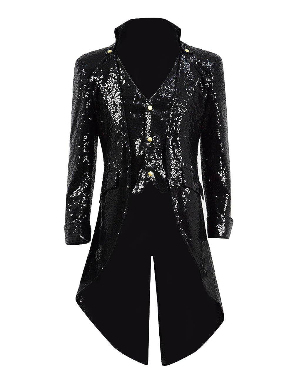 TISEA Mens PU Leather Woolen Faux-Suede Sequin Gothic Tailcoat Jacket Steampunk VTG Victorian Coat