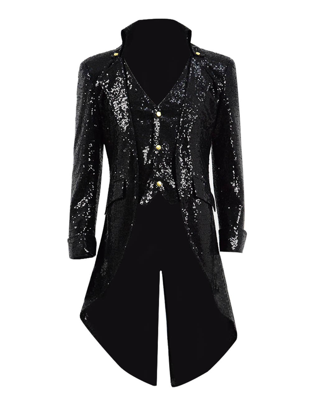 VOSTE Goth Steampunk Victorian Trench Coat Gothic Tailcoat Jacket Costume (Medium, Black(Sequins))