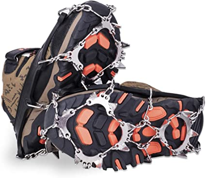 SPGOOD Ice Cleats Crampons 1 Pair for Boots Shoes Women Men Kids 19 Stainless Spikes Traction Cleats Fishing Hiking Walking Mountaineering Climbing