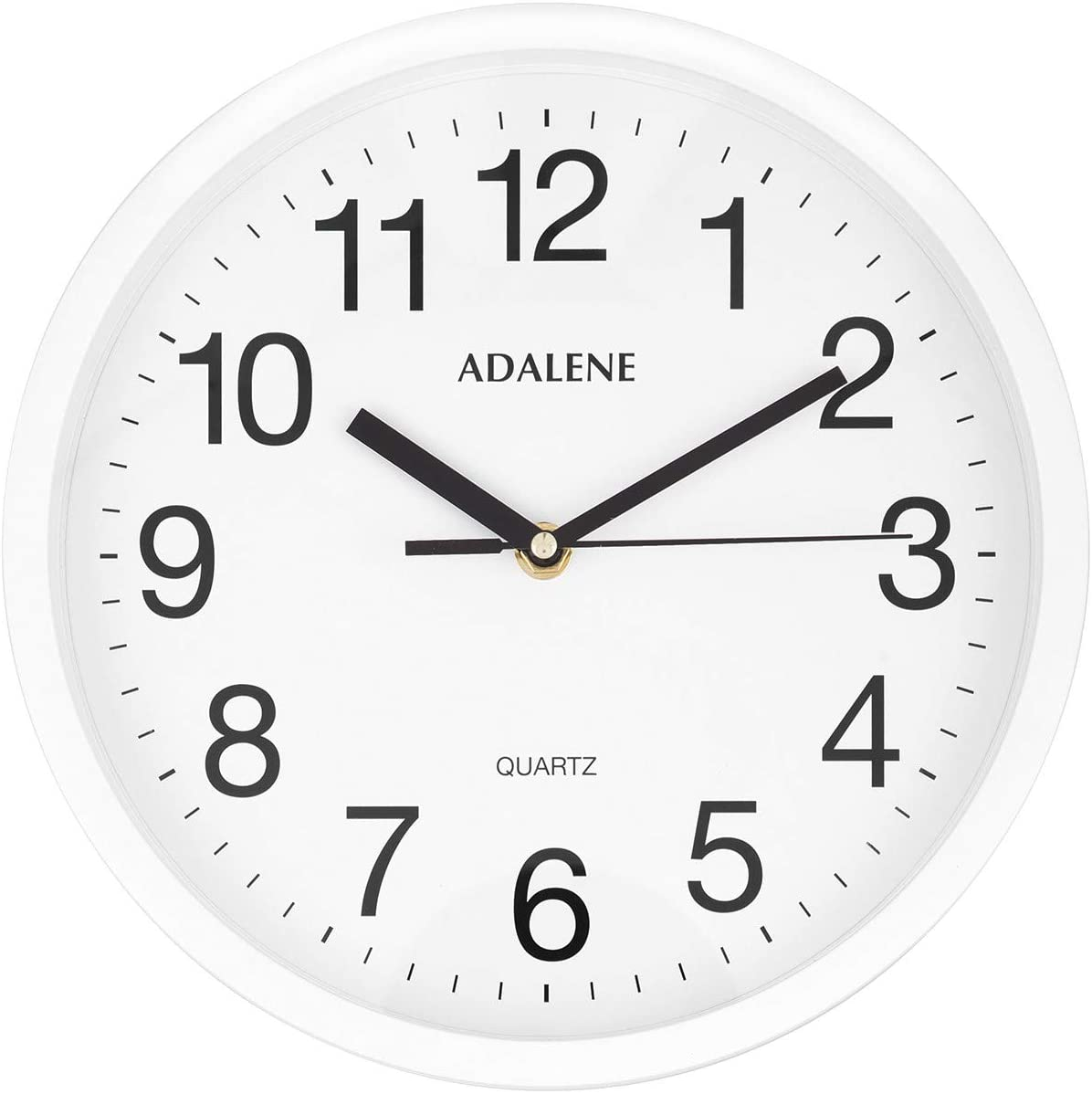 Adalene Wall Clocks Battery Operated Non Ticking - 10 Inch Completely Silent Wall Clock, Analog Quartz Office Wall Clock - Vintage White Wall Clock for School, Non Ticking Wall Clock, Classroom Clock