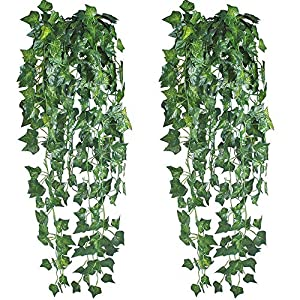 HO2NLE 6 Feet 4PCS Artificial English Ivy Leaves Greenery Garland Fake Hanging Plants Faux Foliage Garden Wall Stairway Party Wedding Outside Decorations 92