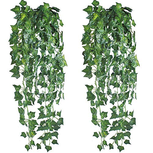 HO2NLE 6 Feet 4PCS Artificial English Ivy Leaves Greenery Garland Fake Hanging Plants Faux Foliage Garden Wall Stairway Party Wedding Outside ()