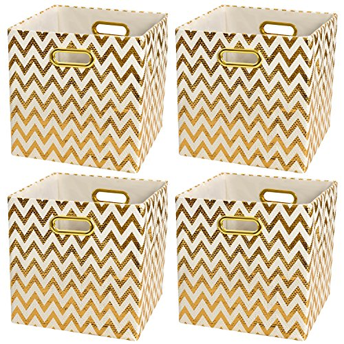 Posprica Collapsible Storage Cubes Basket Bin Boxes Containers Drawers Organizer (4,Wave Pattern)