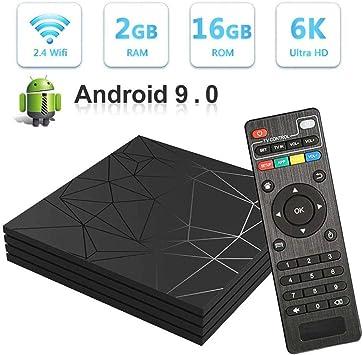 Taurusb Smart TV Box, Android 9.0 TV Box De 2 GB 16 GB Smart TV Caja Allwinner H6 Quad Core 2.4Ghz WiFi 6K HDR Google Jugador Set Top Box Media Player: Amazon.es: