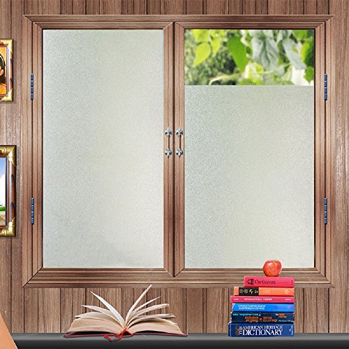 Bloss Etched Privacy Window Film Frosted Glass Static Cling Non Adhesive Window Frost Film for Home Office, 17.7inch x 78.7 -
