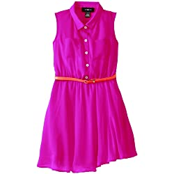 Amy Byer Big Girls' Chiffon Shirtdress with Belt