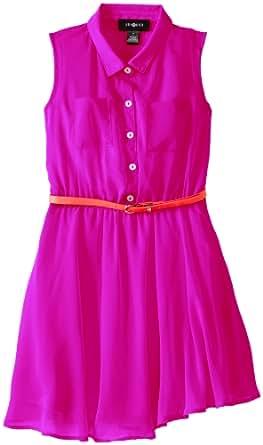 Amy Byer Big Girls' Chiffon Shirt Dress with Belt, Azalea, 7