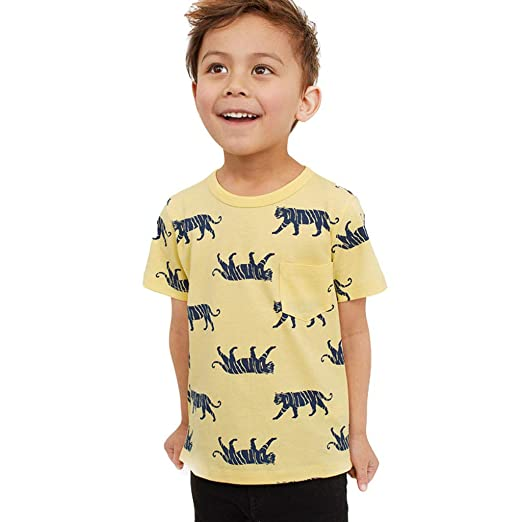 cdaa9b2bdb82 Amazon.com: Cartoon Tigers Print Short Sleeve T-Shirt Pocket Blouse Tops  Teen Kids Toddler Baby Girls Boys Pullover Spring Summer Clothes: Clothing